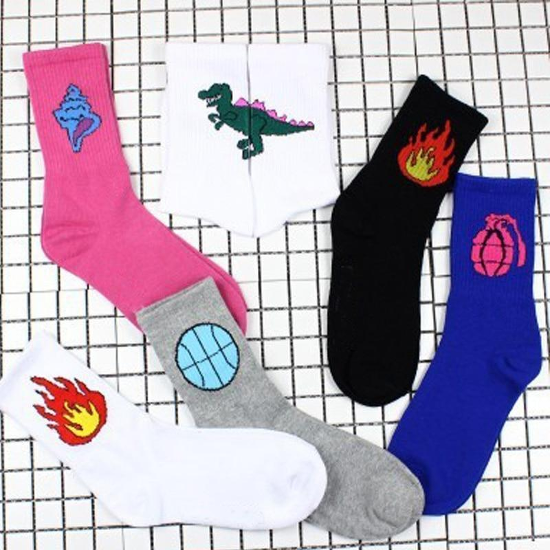 New Spring Women Daily Socks Harajuku Korea Japanese Cotton Flame Ulzzang Femaledresskily-dresskily