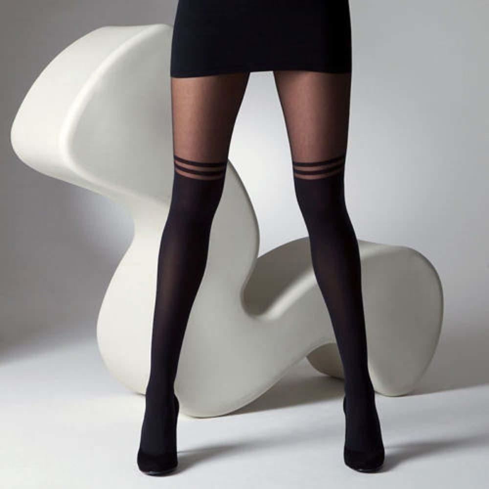 Hot Sexy Stockings Pantyhose Mock Over The Knee Double Stripe Sheer Tightsdresskily-dresskily