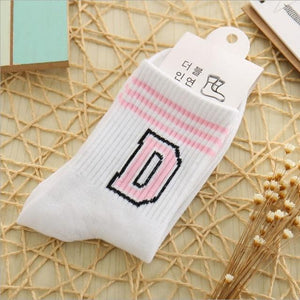 2018 New Letter and stripe pattern women Cotton Sock Wholesale Casual femaledresskily-dresskily