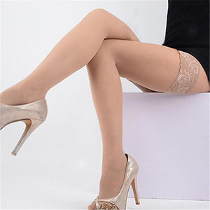 Fashion Sexy Stylist Ladies Women Lace Top Thigh High Stockings Silicon Strapdresskily-dresskily