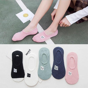 1 Pair 2017 spring and summer new female socks cotton cartoon smiledresskily-dresskily