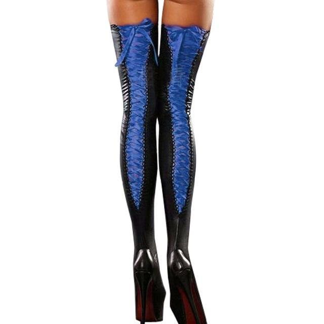 Sexy Club Women Comfortable Thigh-high Stockings Leather Lace Bow Long Overdresskily-dresskily
