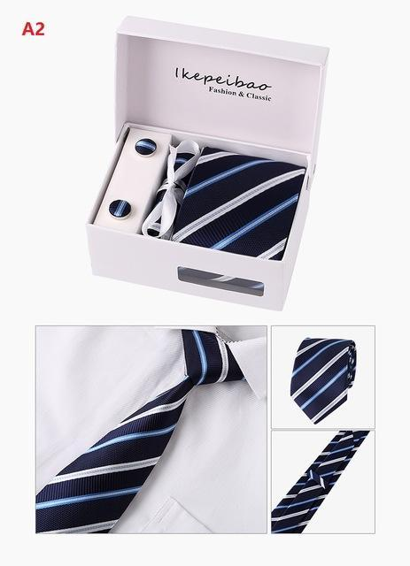 Custom Personalized Blue Mens Ties Hankie Cufflinks Set Neckwear Paisley Cravatsdresskily-dresskily