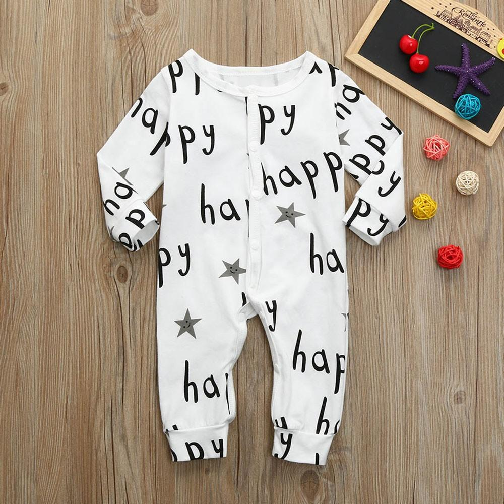 Toddler Baby Boys Girls Long Sleeve Letter Print Romper Jumpsuit Clothesdresskily-dresskily