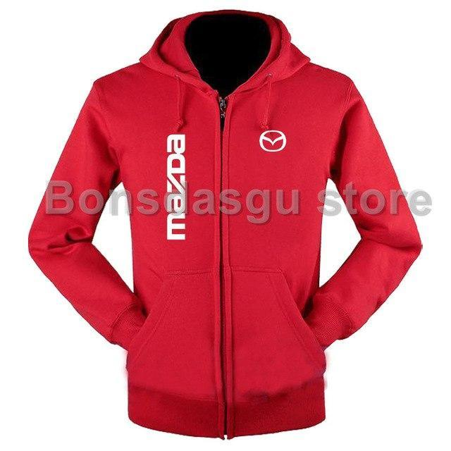 High Quality MAZDA logo zipper Hooded Sweatshirt for women and men's Zipperdresskily-dresskily