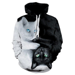 2018 3D Hoodies Men Hooded Sweatshirts two cat 3D Print hoody Casualdresskily-dresskily