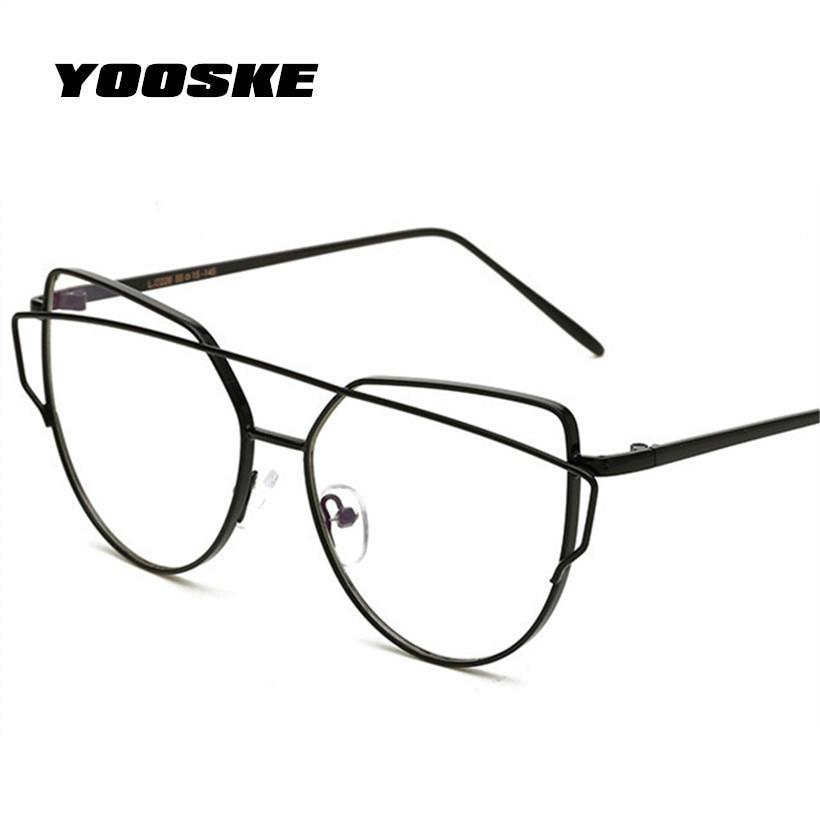 YOOSKE Women Optics Glasses frame Retro Double Beam Cat Eye Eyeglasses Womensdresskily-dresskily