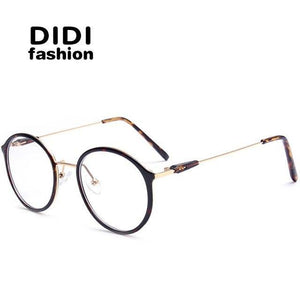 DIDI Titanium Leopard Glasses For PC Unisex Round Metal Frame Glasses Cleardresskily-dresskily