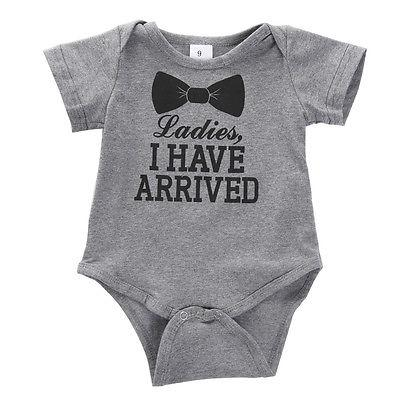Summer Newborn Boys Girls Cotton Letter Bowknot Print Romper Playsuit Outfits Babydresskily-dresskily