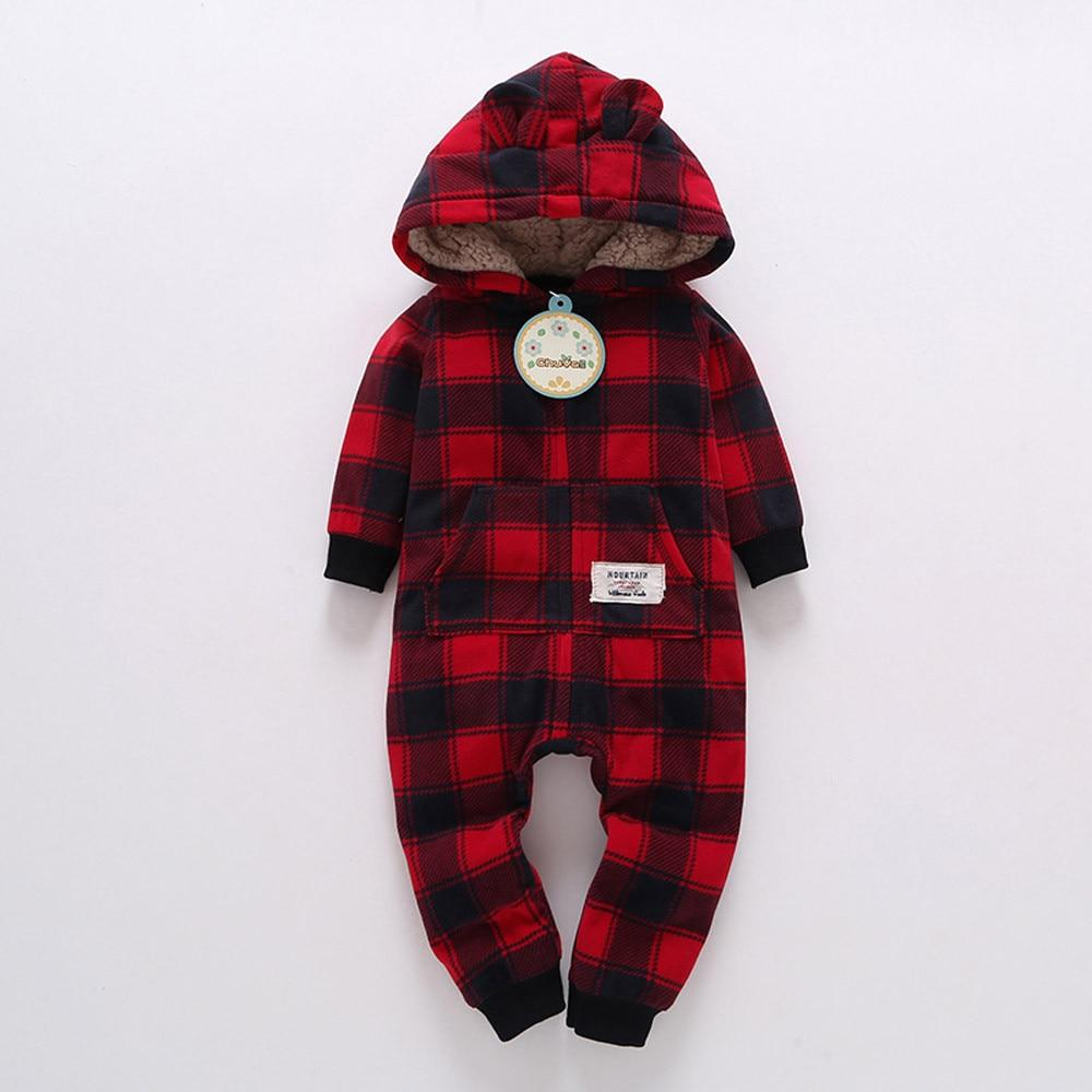 Lattice pocket bear ears Grid Hooded zipper Romper Jumpsuit Outfit Clothes Infantdresskily-dresskily