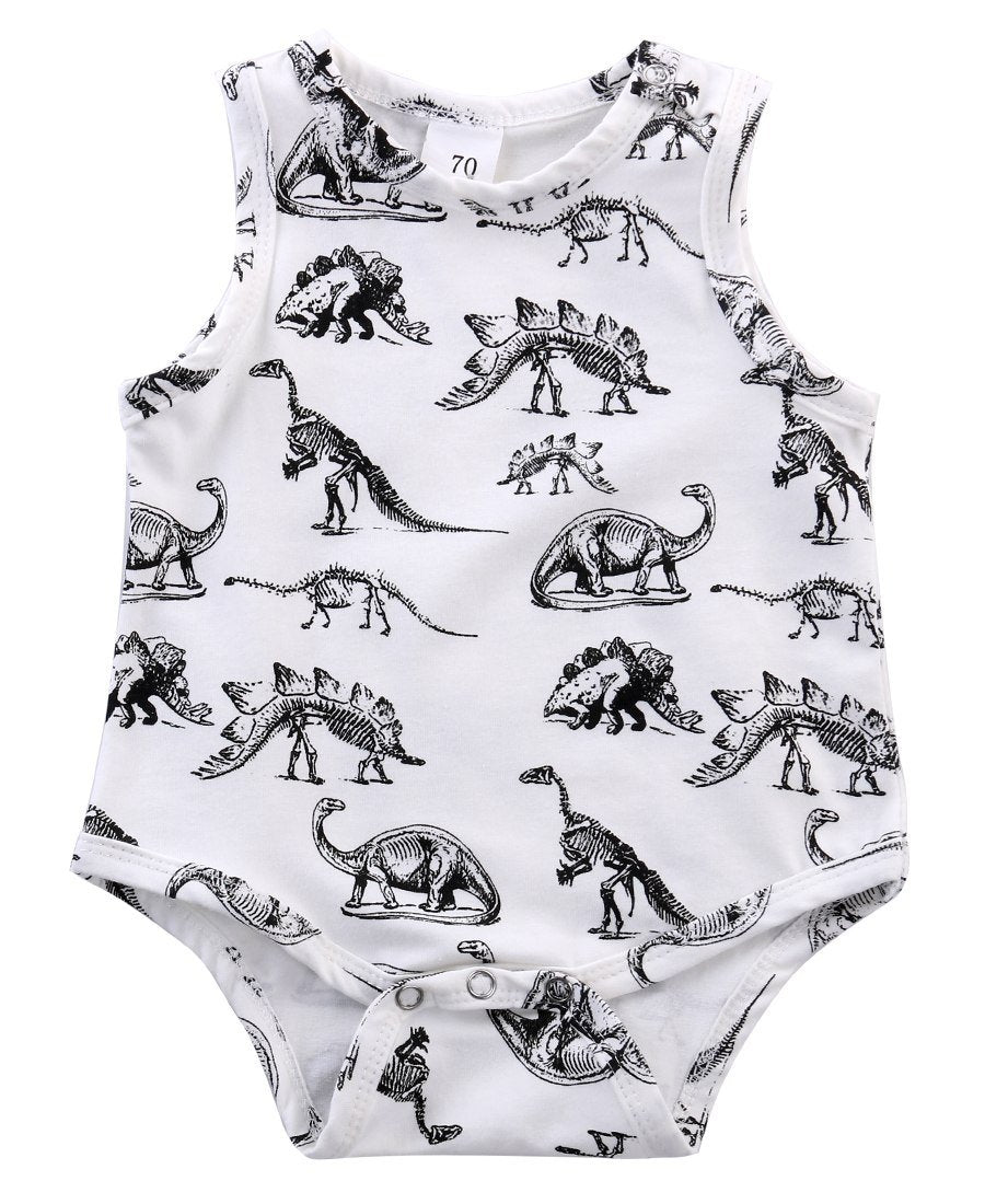 Toddler Kids Baby Boy Girl Dinosaurs Sleeveless Covered Button Jumpsuit Bodysuits Outfitsdresskily-dresskily