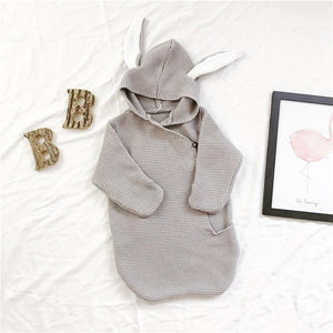 Unisex Cotton Baby Big Rabbit Bunny Ear Design Rompers Hooded Sleeping Clothes