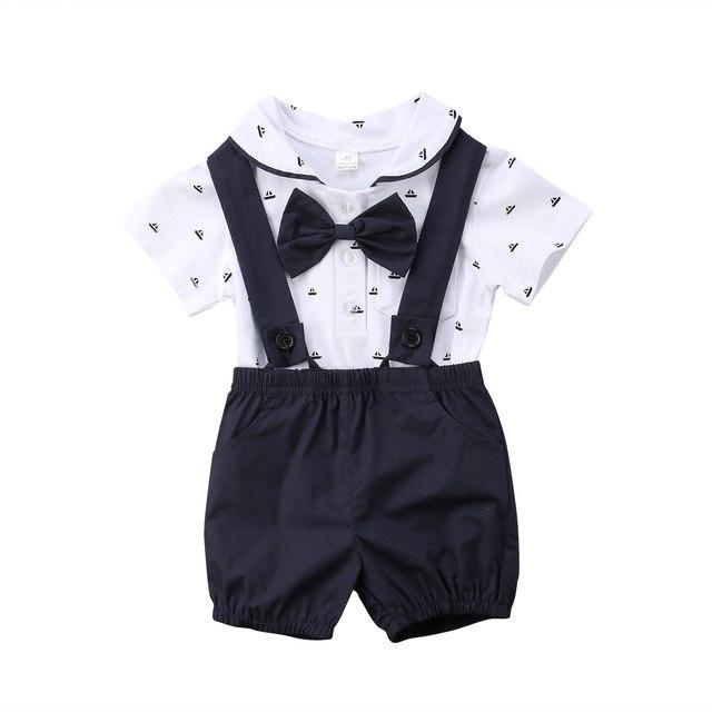 2PCS Newborn Infant Baby Boy Clothes Set Bodysuit Tops Overalls Cotton Summerdresskily-dresskily