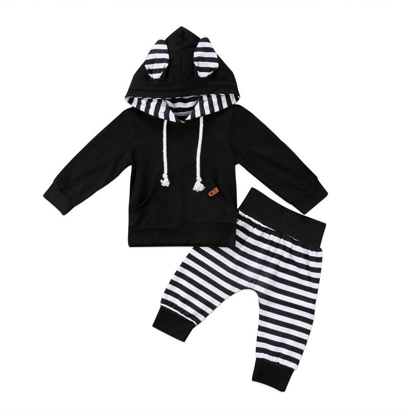New Casual Newborn Infant Baby Boy Girl Clothes Long Sleeve Stripe Hoodeddresskily-dresskily