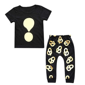 2Pcs Golden Stamping Baby Clothing Set Newborn Baby Boys Girls Suits Blackdresskily-dresskily