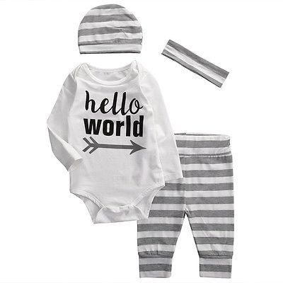 4Pcs/Set ! New Autumn 2018 baby boys girls clothing set cotton Romperdresskily-dresskily
