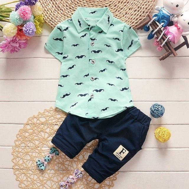 Summer infants Baby Boy Clothing Sets Bebe T-shirt+Solid Pants Set Kiddresskily-dresskily