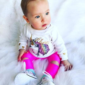 Hot Cute 3Pcs Set Infant Baby Girl Unicorn Top T-shirt Long Pantsdresskily-dresskily
