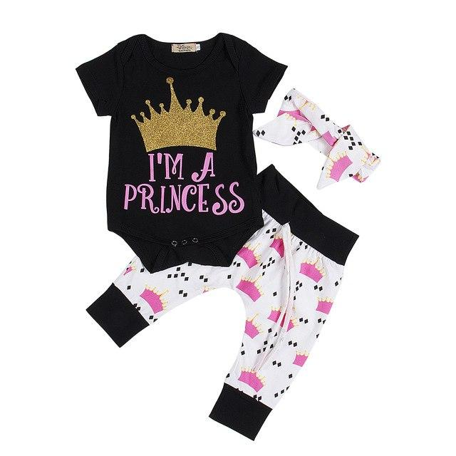 New Lovely Newborn Baby Girls Clothes Set Princess Crown Print Rompers+Pants+Headband 3pcsdresskily-dresskily