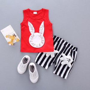 2018 New Female Tradechildrenset Cartoon Rabbit + Two 2PCS Baby Shorts Fordresskily-dresskily