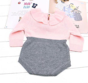 Winter Warm Baby Girls Bodysuits Knitted Coveralls Princess Ruffle Long Sleeve Infantdresskily-dresskily