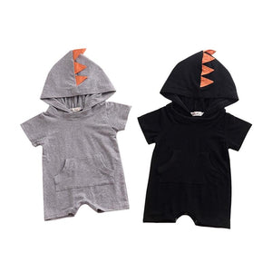 Fashion Cartoon Dinosaur Design Hooded Baby Rompers Cotton Short Sleeve Jumpsuits Infantdresskily-dresskily