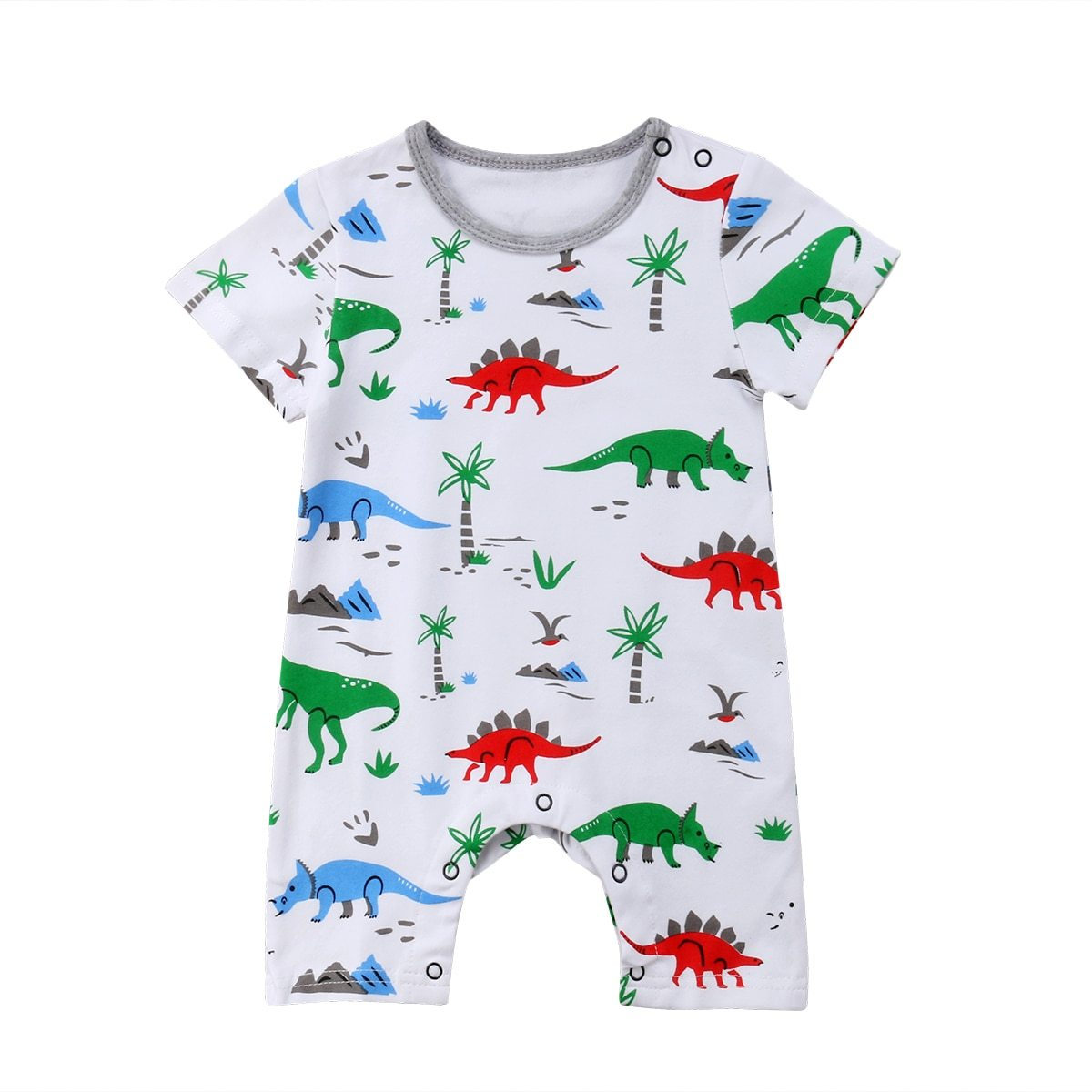 Summer New Dinosaur Print White Short Sleeves Newborn Infant Baby Boys Girlsdresskily-dresskily