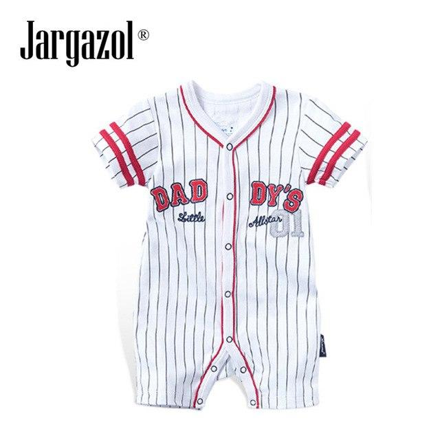 Jargazol Summer Short Sleeves Baseball Striped Rompers Sports Baby Boys Clothes Cottondresskily-dresskily