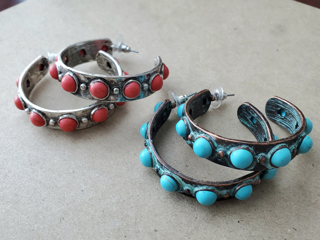 Rustic Hoop Earrings