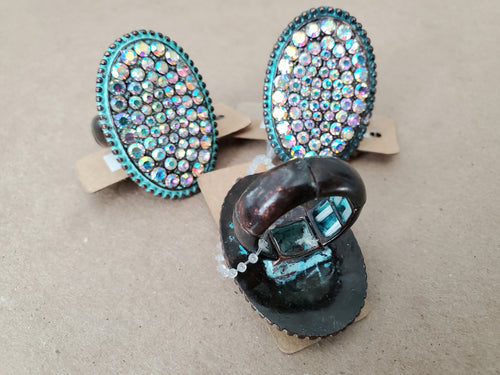 Rustic Turquoise Bling Ring