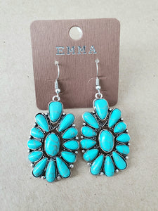 Squash Blossom Turquoise Earrings