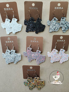 Texas Leather Glitter Earrings