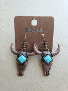 Copper & Turquoise Steer Skull Earrings