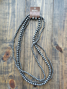 Three Layered Silver Beaded Necklace