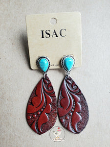 Tooled Leather Turquoise Earrings 1