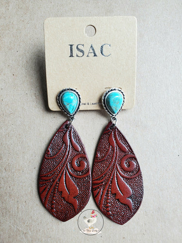 Tooled Leather Turquoise Earrings 2