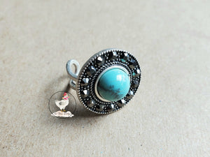 Crystal Natural Turquoise Ring