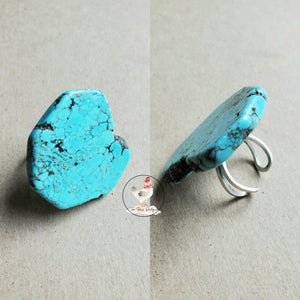 Natural Turquoise Slab Ring