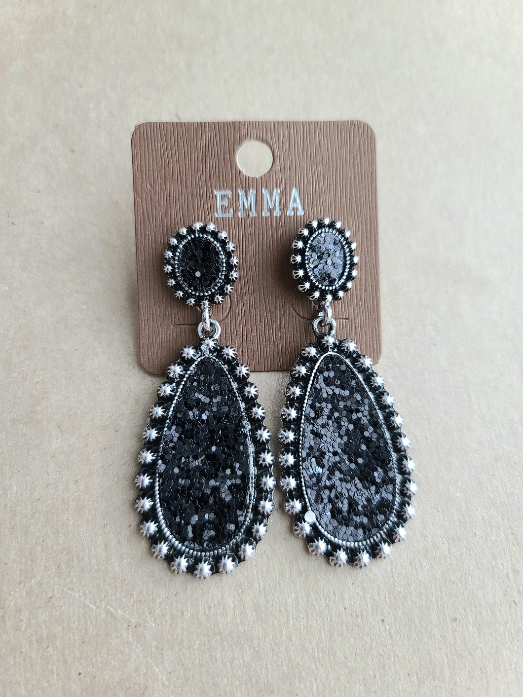 Black/Silver Glitter Earrings