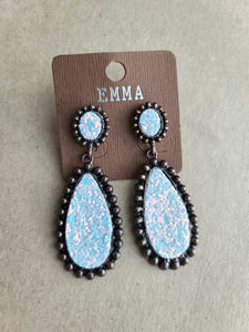 White/Copper Glitter Earrings