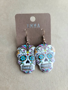 Copper Sugar Skull Earrings