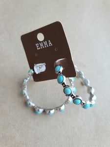 Turquoise/Silver Hoop Earrings
