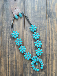 Large Turquoise/Silver Squash Blossom Necklace