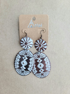 Copper/White Antique Earrings