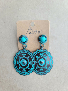 Stud Copper/Turquoise Antique Earrings