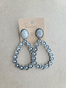 Jeweled Stud Hoop Earrings