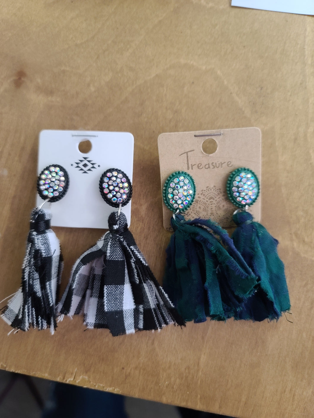 Jeweled Plaid Tassel Earrings