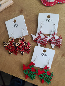 Merry Christmas Texas Earrings