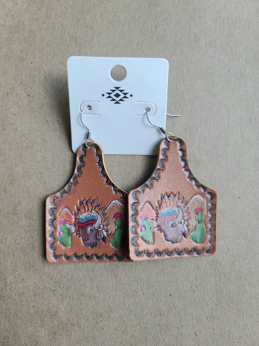 Ear Tag Leather Earrings