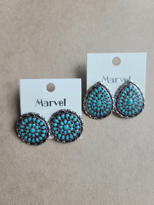 Turquoise/Silver Clip On Earrings